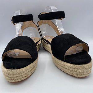 YDN Women Open Toe Ankle Strap Wedge Low Heel Shoe